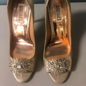 Badgley Mischka Gold Embellished Peep Toe